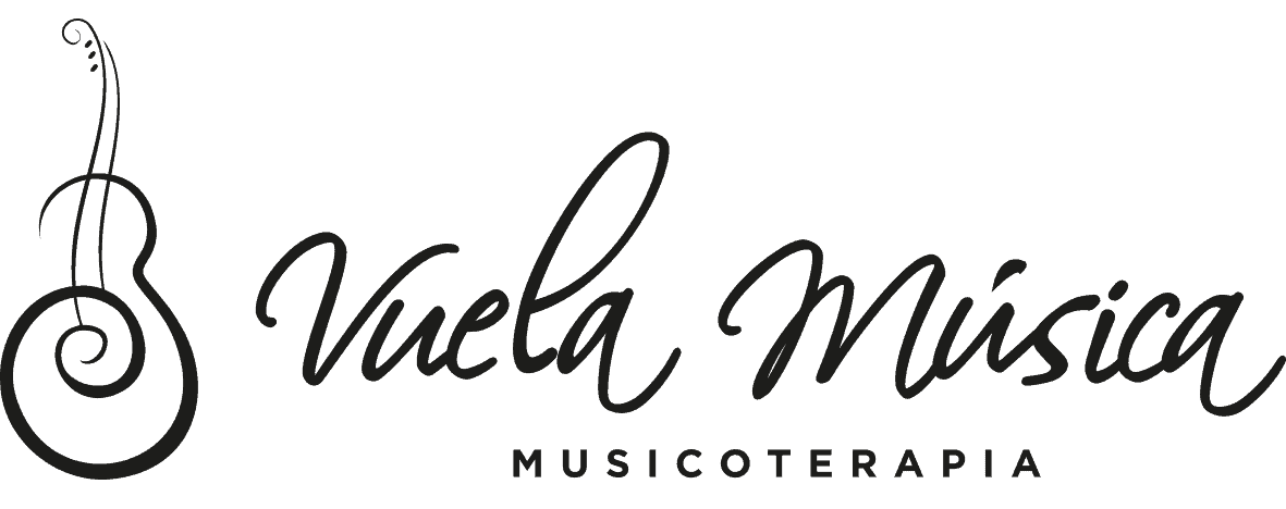 LOGO DE GUITARRA Y LETRAS VUELA MUSICA